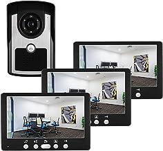 Videodeurbel, intercom, bekabeld deurintercomsysteem 7 inch videodeurtelefoon Home Security Kit, deurkijker, nachtzichtcam...