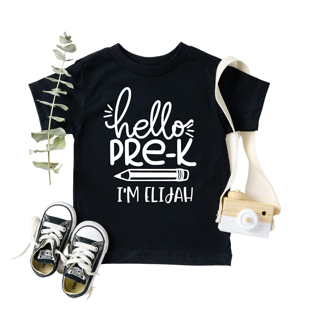 Hello Pre-K Back to School NEW Personalized for Mail order Kinderg Boys Shirts