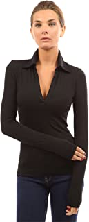 Women V Neck Long Sleeve Polo Shirt