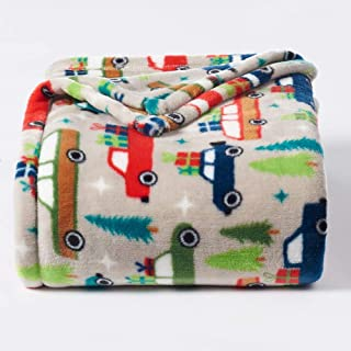 The Big One Oversized Plush Throw 2018 (Holiday Trucks) - 5ft x 6ft Super Soft and Cozy Micro-Fleece Blanket for Couch or Bedroom