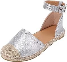 POPLY Ladies Sandals Women Ladaies Fashion Woven Flat Sandals Buckle Strap Roman Shoes UK Size 3-7