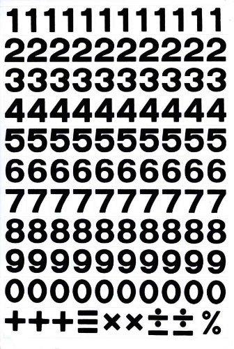 Numéros Numéros Design -NOIR- Sticker dimensions de la feuille 27 cm x 18 cm