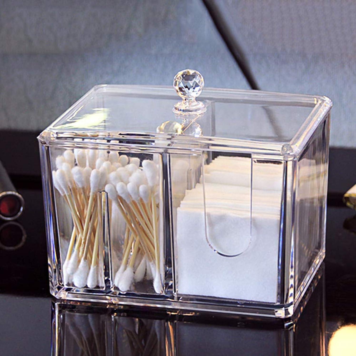 ボーカル語未払いメイクオーガナイザーコットンスワブオーガナイザークリアアクリルメイクコットンパッドディスペンサー蓋付きリップスティック収納キャニスター(14.5 x 10.5 x 13 cm)