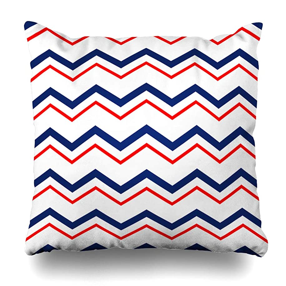Kutita Decorativepillows Covers 16 x 16 inch Throw Pillow Covers,Navy Stripe Modern Blue Zig Zag Ocean White Pattern Double-Sided Decorative Home Decor Pillowcase Sofa Bedroom Car