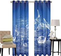 hengshu Music Decor Pattern Curtains Blackout Magical Water with Musical Notes Bubbles and Dancing Waves Fantasy Music More Than Real Decor Bedroom Decor Living Room Decor W52 x L84 Inch Blue