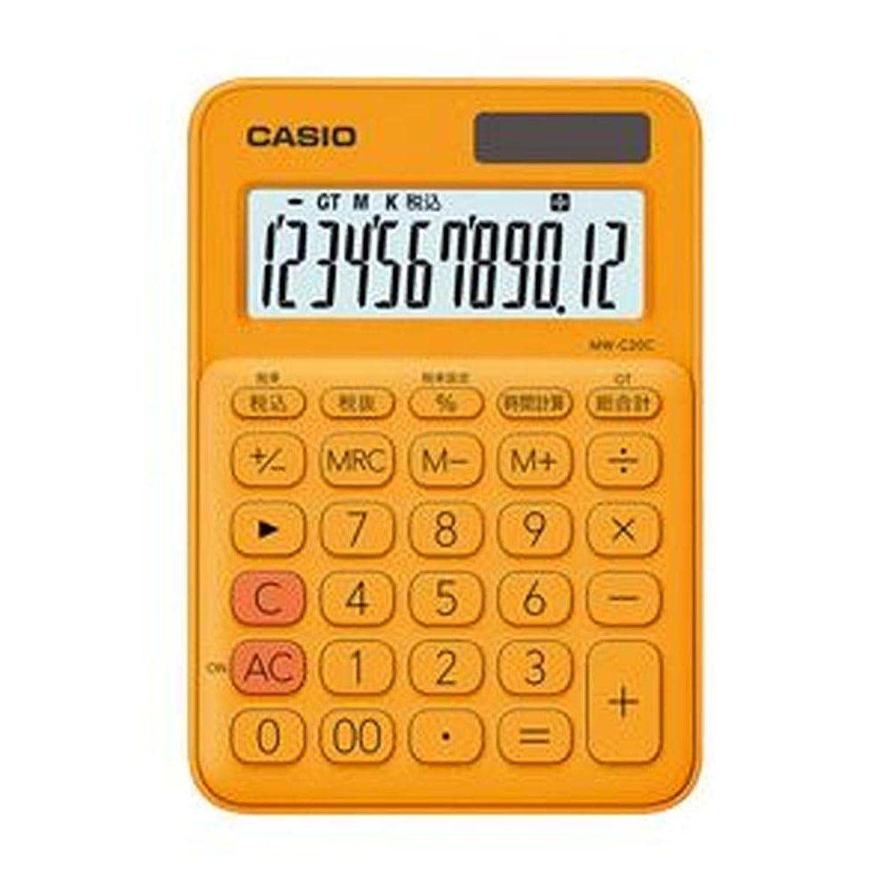 タクシー結婚したケーブルカーカシオ計算機?カラフル電卓?オレンジ?MW-C20CRG-N?1台