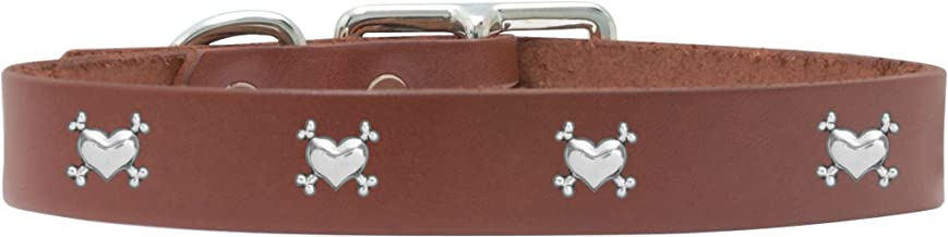 product image for Rockin Doggie Heart/Bones Rivet Veg Leather Dog Collar, 1 by 18-Inch, Brown