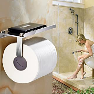 Toilet Paper Holder,Bathroom Tissue Roll Hanger CrazySound Wall Mount Paper Towel Hooks/Dispenser/Storage/Organizer/Tower/Stand/Rack for Hanging, Organization with Phone Shelf