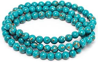 Gem Stone King 6mm Stunning Round Blue Simulated Turquoise Bead Stretchy Bracelet/Necklace
