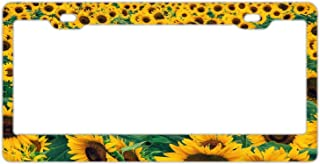 YEX Abstract Sunflowers Garden License Plate Frame Car Licence Plate Covers Auto Tag Holder 6