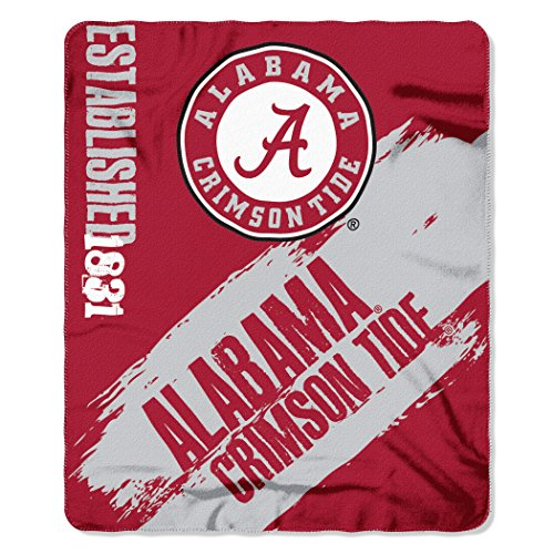 Officially Licensed NCAA Alabama Crimson Tide 'Painted' Printed Fleece Throw Blanket, 50' x 60', Multi Color