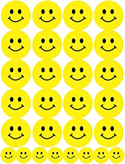 Hygloss Products Happy Smiley Face Yellow Dot Stickers - 84 Labels - 3 Sheets