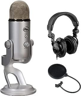 Blue Yeti Studio USB Microphone Professional Recording System with HPC-A30 Closed-Back Studio Monitor Headphones & Pop Filter Bundle