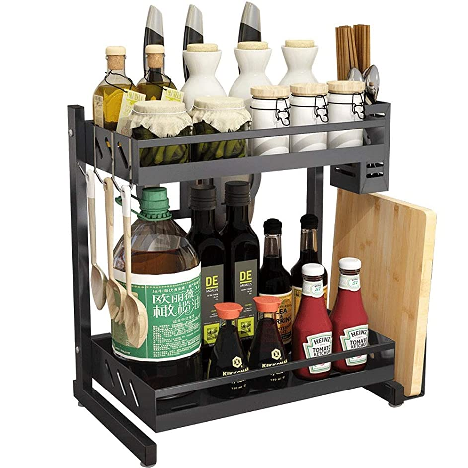 Spice rack Spice Rack Organizer 2-Tier Stainless Steel Black Kitchen Shelf Condiment Storage Rack Household Two-layer Removable Wash Spice Rack spice rack organizer