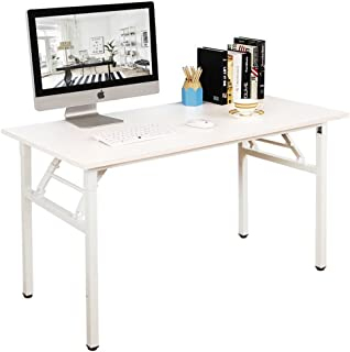 DlandHome 55 inches Folding Table Computer Desk Portable Table Activity Table Conference Table Home Office Desk, Fully Assembled White DND-ND5-140WW