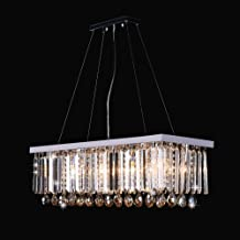 LED, Crystal Light, Rectangular, Dining Room Chandelier (Color : 60x25cm Warm Light Chrome Wheel)