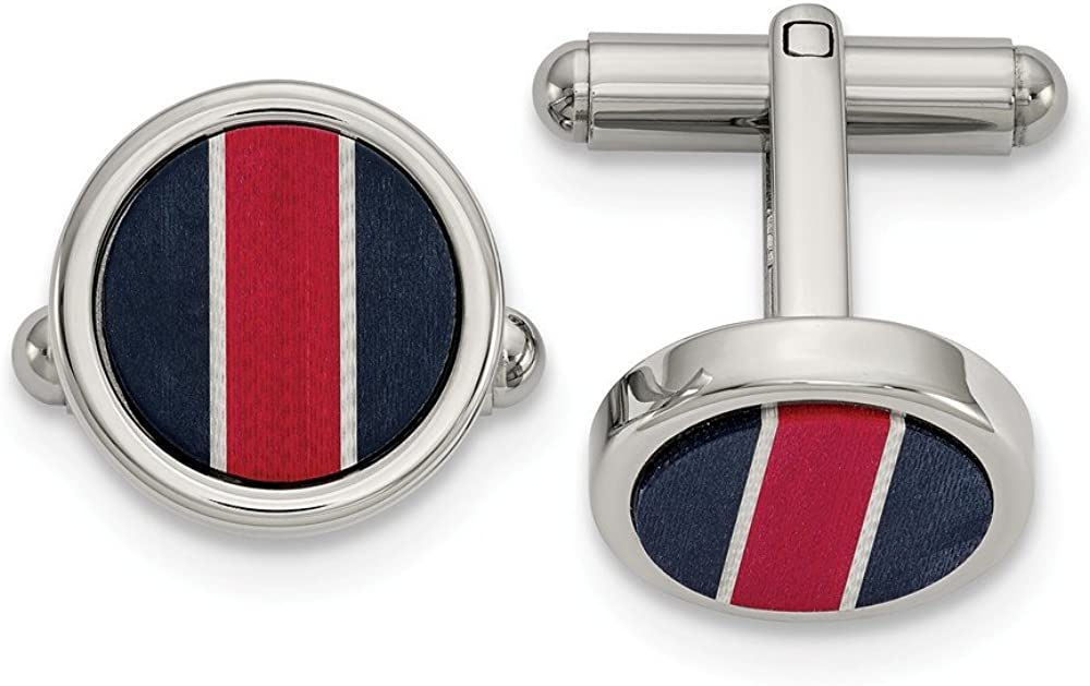 FB JEWELS Stainless Steel Polished Blkcarbon and Red White Fiberglass Inlay Cuff Links