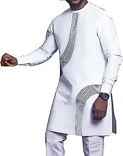 GaoYunQin Décontracté pour Hommes Africain Manche Longue Mode Hauts T-Shirts Affaires Africain Coupe Ajustée Fête des Trad...