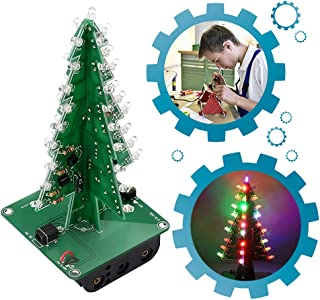 IS ICStation DIY Christmas Tree 3D Xmas Soldering Practice Electronic Assemble Kit Project for Kids Teens 7 Colors Flashing LED PCB Solder