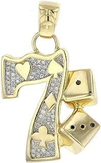 10K Gold Mens Diamond Pendant Lucky Number 7 Dice Charm 0.39ctw Diamonds 40mm