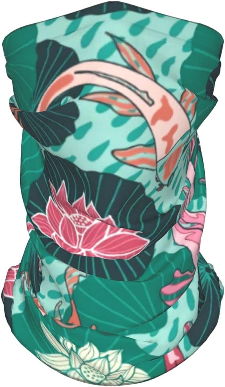 Hand Drawn Koi Fish 2 Neck Gaiter Multipurpose Headwear Ice Silk Mask Scarf Summer Cool Breathable Outdoor Sport 4 Pcs