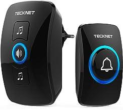 TECKNET Timbre inalámbrico,Timbre de Puerta con Indicadores LED, Resistente al Agua, 32 Melodías, Alcance a 250m, 4 Nivele...
