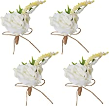 4pcs Wedding Prom Groom Calla Lily Boutonniere White Rose Flower Corsage Pins Set for Men
