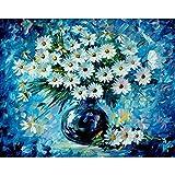 Pintura al óleo de Bricolaje,Pintura por números,Crisantemo blanco Pintar por Numeros Adultos Niñost Principiantes, para hogar decoración de casa (sin marco) 40 x 50 cm