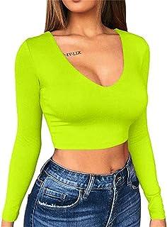 Aderente Camicia da Donna a Maniche Lunghe Scollo a V Artfish Neon Sexy