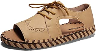 Sunny&Baby Open Toe Sandals For Men Walking Fashion Summer Beach Shoes Sport Outdoor Sandals Lace Up Microfiber Leather Summer Wear Resistant Flats Anti-Skid (Color : Almond, Size : 43 EU)