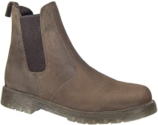 Grafters. Mens Dealer Chelsea Boots Leather Waxy Brown Slip On Air Cushioned