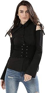 Koovs Black Shirt Neck Shirts For Women