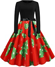 NANTE Top Loose Women's Dress Christmas Tree Print Dress Zipper Hepburn Party Dresses Christmas Day Cospaly Party Skirt