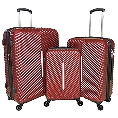 Cheergo PC 3 Piece Hardside Suitcase Luggage Set Expandable Spinner Trolley TSA Lock 20 24 28 inch Red