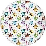 W-WEE Tappeto Rotondo Tappeto Tappeto, Scuola Materna, Sfondo punteggiato Gufi Colorati Varie espressioni facciali Arrabbiato Felice confuso, Multicolore