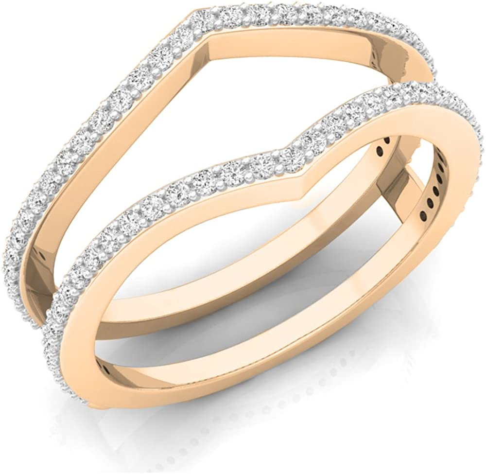 Dazzlingrock Collection 0.40 Carat (ctw) 14K Gold Round Diamond Ladies Anniversary Wedding Band Enhancer Guard Double Ring