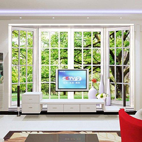 3D muurschildering achtergrond foto fotobehang stereoscopisch groene vensterbank landschap grote muurschildering woonkamer slaapkamer behang muraart 450 cm x 300 cm.