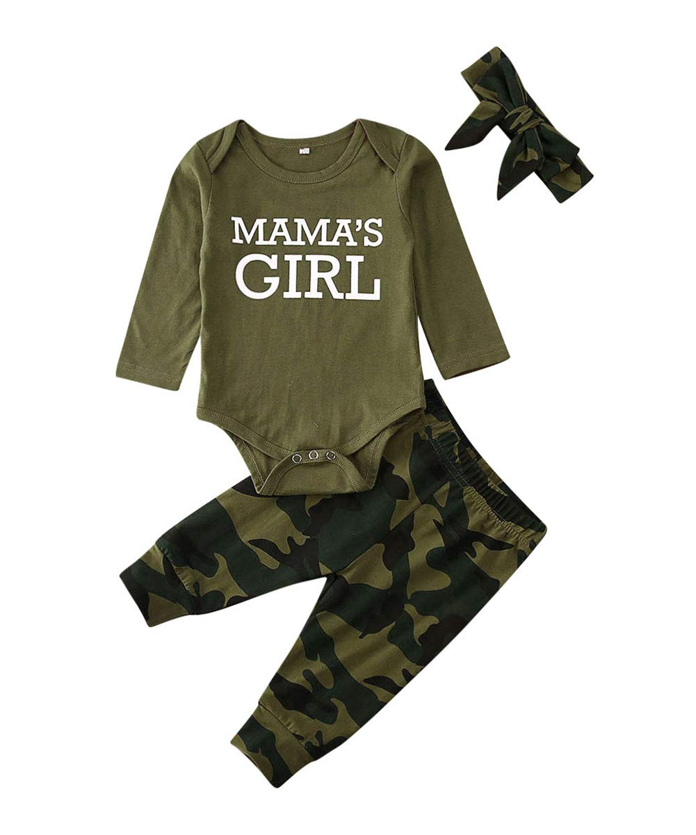 Newborn Baby Girl Boy Clothes Mommy Sayings Top Printed T-Shirt Camouflage Pants+Hats Romper Outfit Set