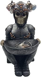 The Viking Warrior Skeleton Skull Jewelry Ring Holder Stand With Tray Trinket Holder Desk Accessories Organizer Desktop Ke...