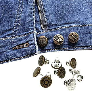 Xiang Ru 5PCS 17mm Adjustable Removable Brooch Stapleless Metal Button Replacement Kit for Women and Men Jeans Collar