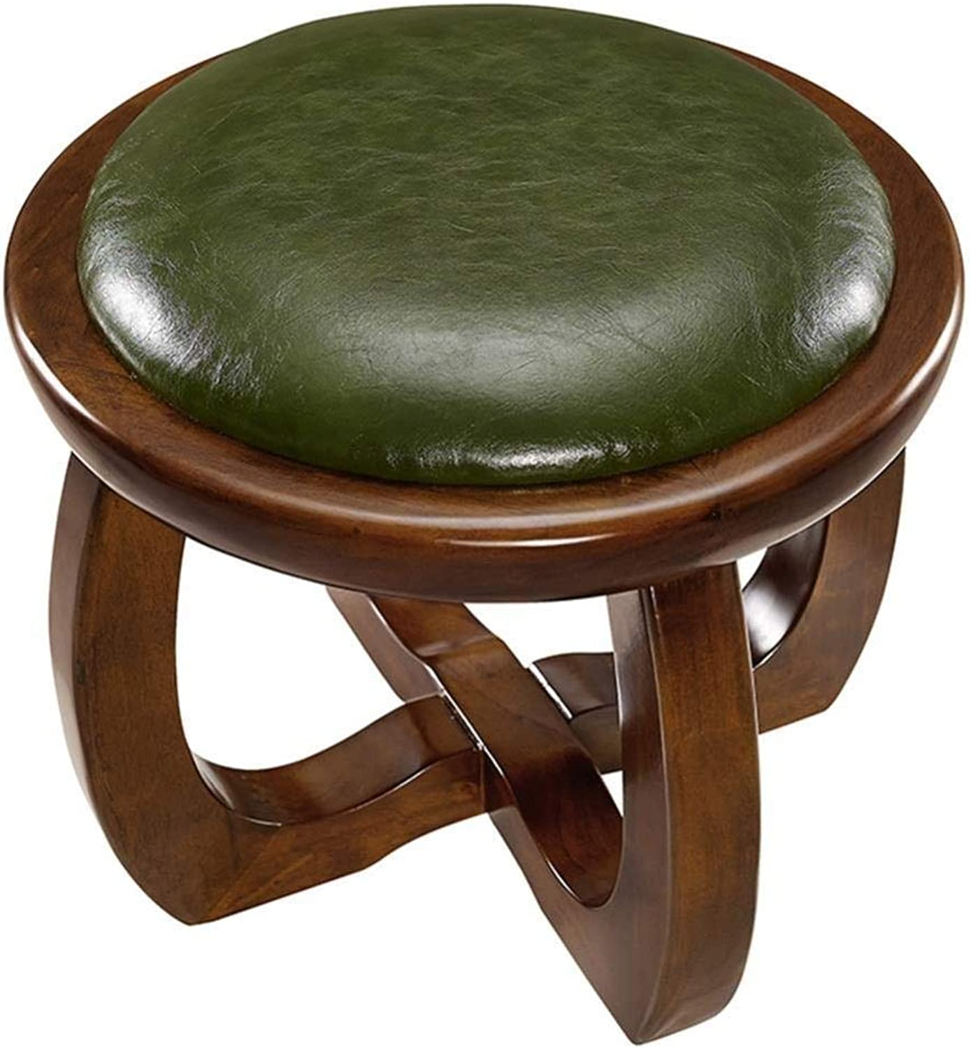 Stool Household Rubber Wood PU Cushion Waterproof Round Low Stool Footstool Stool (color   Green)