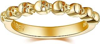Gold Rings for Women Skull Ring Cool Sterling Silver Stackable Knuckle Black Diamond Eternity Rings Dainty Skull Bands Thumb Rings for Teen Girls