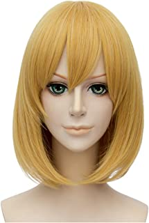 Flovex Short Straight Anime Bob Cosplay Wigs Natural Sexy Costume Party Daily Hair with Bangs (Golden)