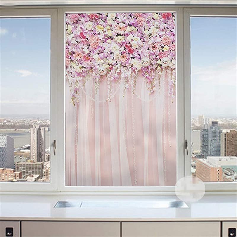 J4U No Glue Non Adhesive Window Film Pink Flower Pattern Decorative Privacy Static Cling Glass Film For Living Room Bedroom Kitchen Lobby Porch Office 40 Sizes