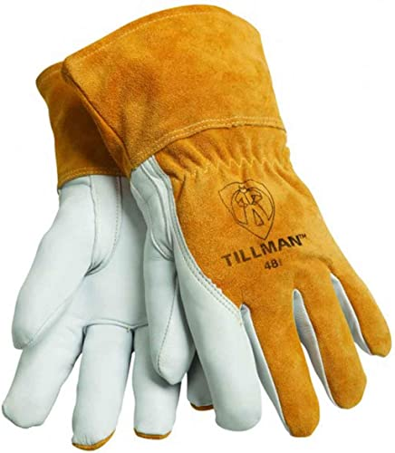 """wholesale John Tillman and Co Large Brown Top Grain Goatskin Fleece new arrival Lined Standard Grade MIG Welders Gloves with Straight Thumb, 3 12"""" outlet sale Cuff, Kevlar Stitching and Elastic Back sale"""