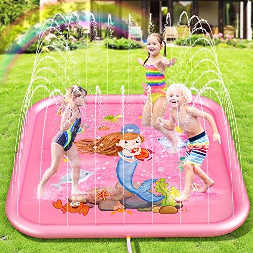 Peradix Splash Pad Tapete de Agua Chapoteo Almohadilla Aspersor de Juego PVC Salpica de Jueg Agua para Actividades Juegos Aire Libre para Niños Familiares/Playa/Jardín (Rosa-170cm)