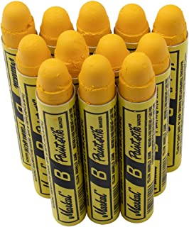 12 Pc Box Yellow Markal B Paintstiks Crayon Marks Water Oil Dirt Extreme Temp Paint Stick Chalk for Auto Tire Construction Fabric Lumber