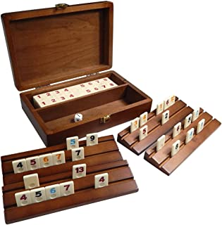 Best Chess Set Tracy Mini Travel Rummy Tile Board Game in Wood Case with Wooden Racks and Urea Tiles