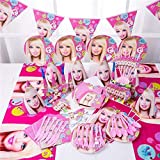 Pink Plates DOLL Party Set, Birthday Party Supply, Kids Party Set 90pcs (Color:Barbie)(Color:Dream House) Barbie Party Supplies