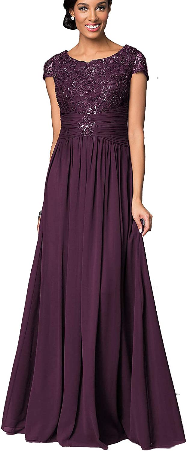 Lover Kiss Long Floral Lace Chiffon Mother of Bride Dresses with Short Sleeves Formal Evening Gowns for Women P040